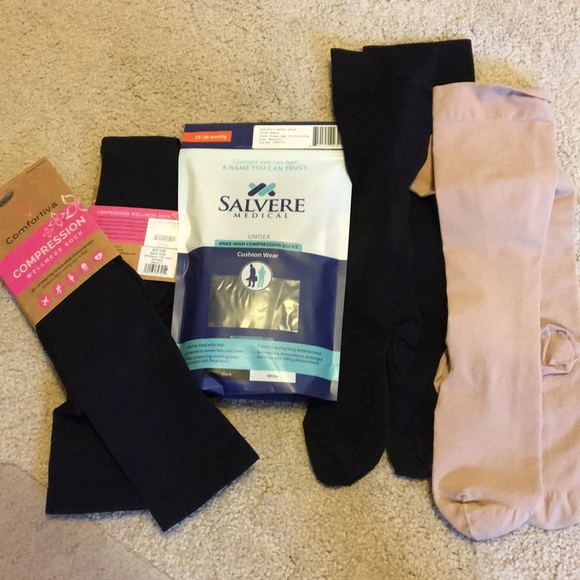 5 pair compression knee highs; new